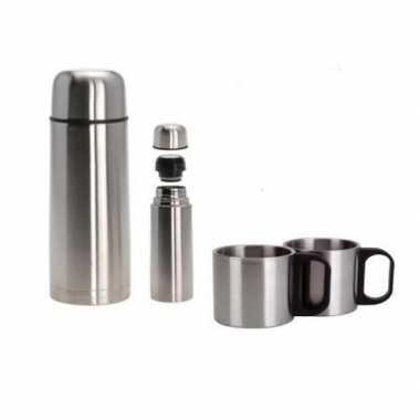 Rvs koffiekan/koffiekan met twee bekers 1 liter
