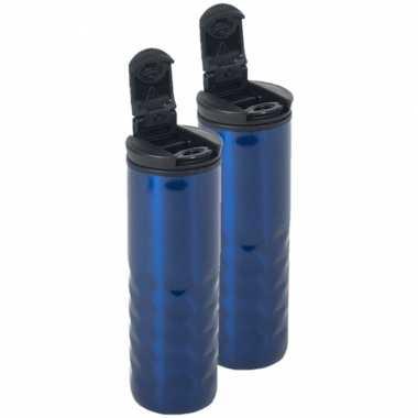 Set van 2x stuks blauwe rvs koffiekan / koffiekan 400 ml