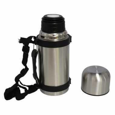 Set van 2x stuks koffiekan / koffiekan rvs voor onderweg met draagriem 450 ml
