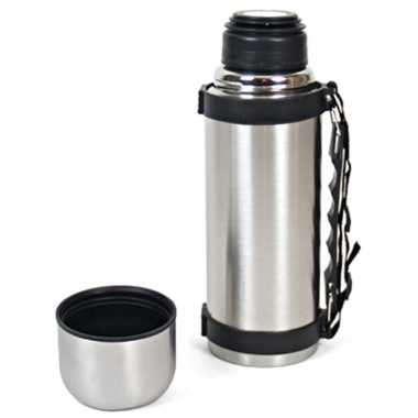Set van 2x stuks koffiekan / koffiekan rvs voor onderweg met draagriem 550 ml