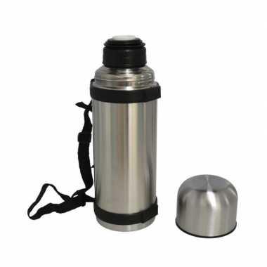 Set van 2x stuks koffiekan / koffiekan rvs voor onderweg met draagriem 650 ml