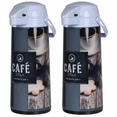 Set van 2x stuks koffiekannen/koffiekannen met pomp bruin/grijs 1,9 liter