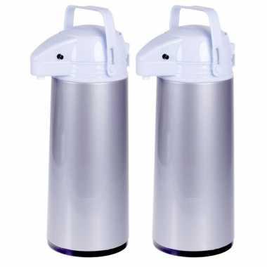 Set van 2x stuks koffiekannen/koffiekannen met pomp grijs 1,9 liter