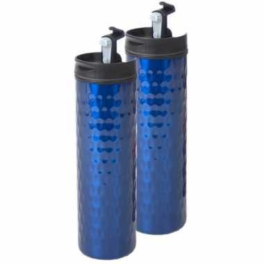 Set van 2x stuks rvs koffiekan / koffiekan blauw 400 ml