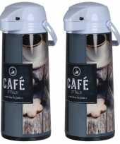Set van 2x stuks koffiekannen koffiekannen met pomp bruin grijs 1 9 liter